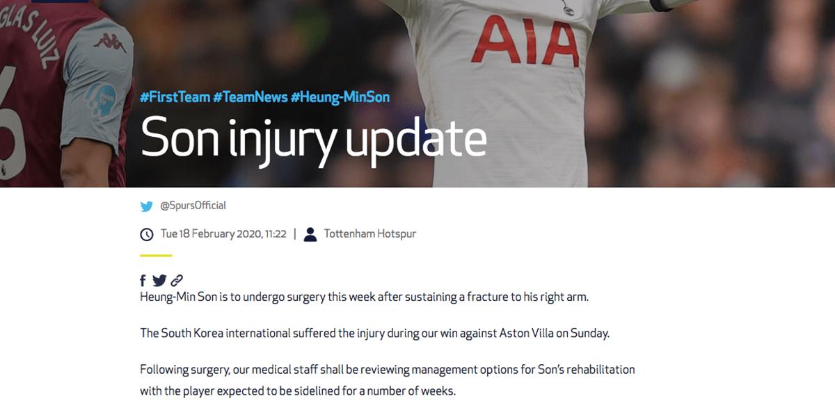 Son se fracturó el brazo y será baja por varias semanas con el Tottenham