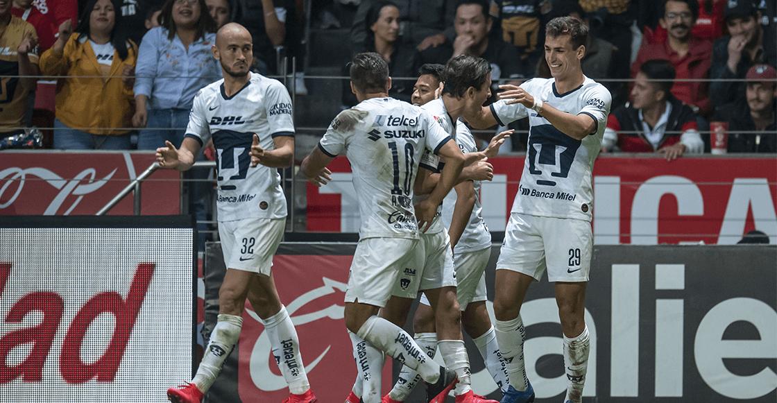 Doblete de Dinneno en 12 minutos ante Toluca y pum, Pumas líder de la Liga MX