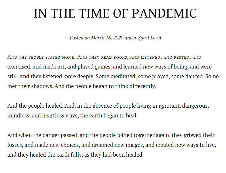 Y la gente se quedó en casa'; el poema sobre una pandemia que se viralizó en redes