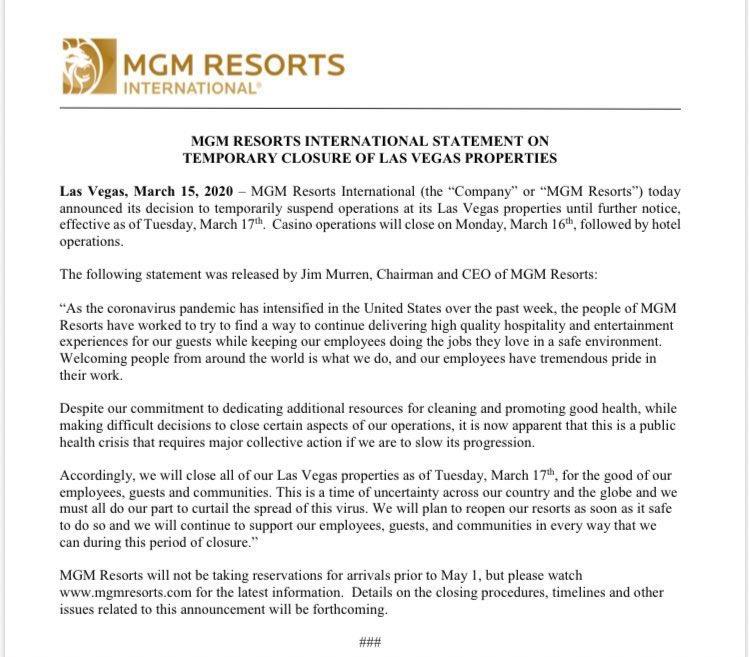 MGM Resorts y Wynn cierran sus hoteles en Las Vegas por riesgo de coronavirus