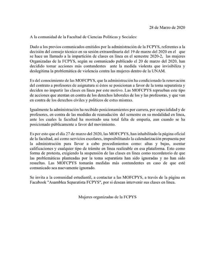 Mujeres Organizadas de la FCPyS hackean página de la facultad para continuar lucha contra violencia de género