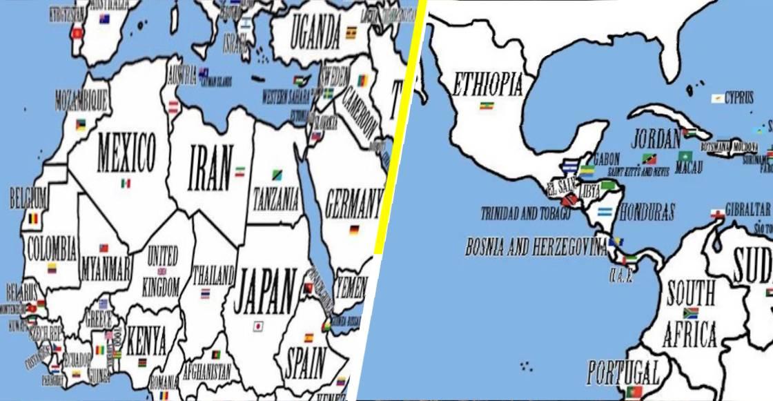 Un experimento reubica a los países en proporción a su población y extensión territorial