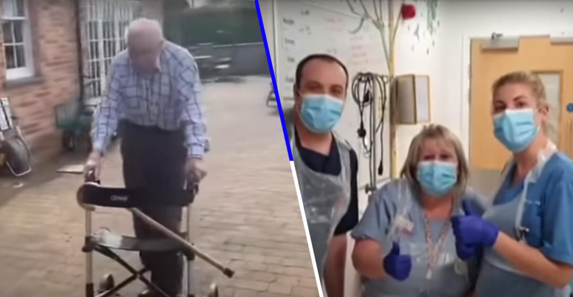 ¡Inspirador! Abuelito de 99 años camina en su jardín para recaudar fondos