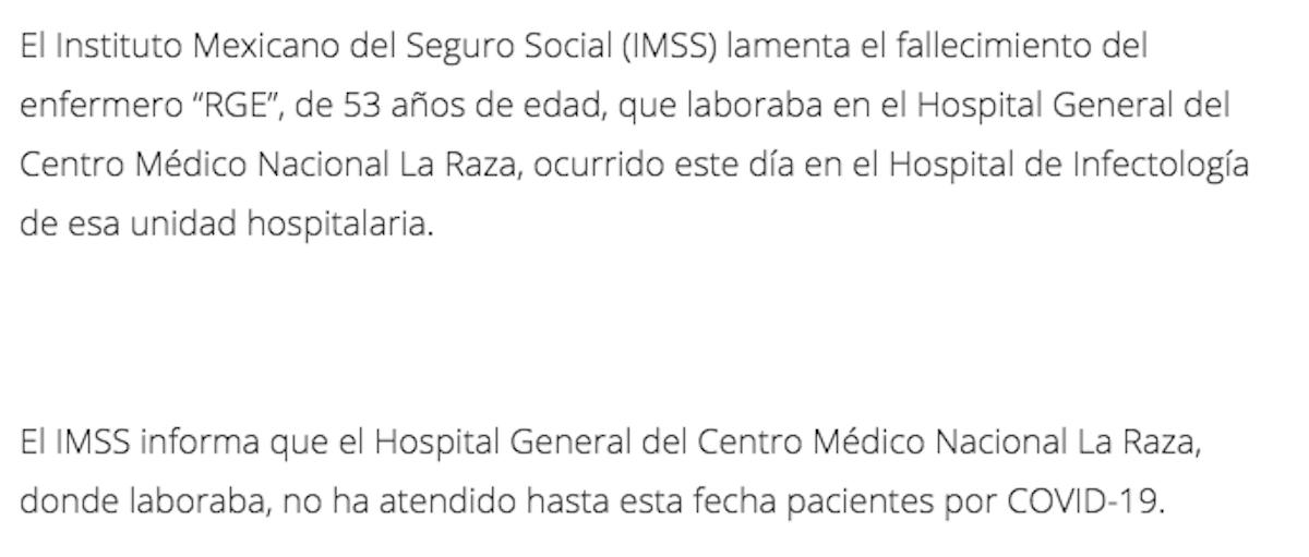 comunicado-imss-enfermero-muerte-la-raza-coronavirus