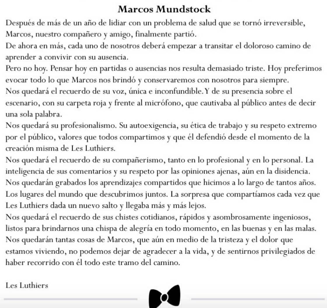 marcos-mundstock-les-luthiers-comunicado