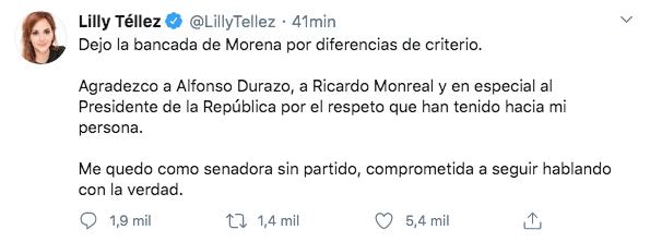 lilly-tellez-renuncia-morena-senado-independiente-criterio-twitter-senadora-01