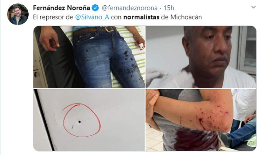 Tuit Noroña, normalistas michoacán