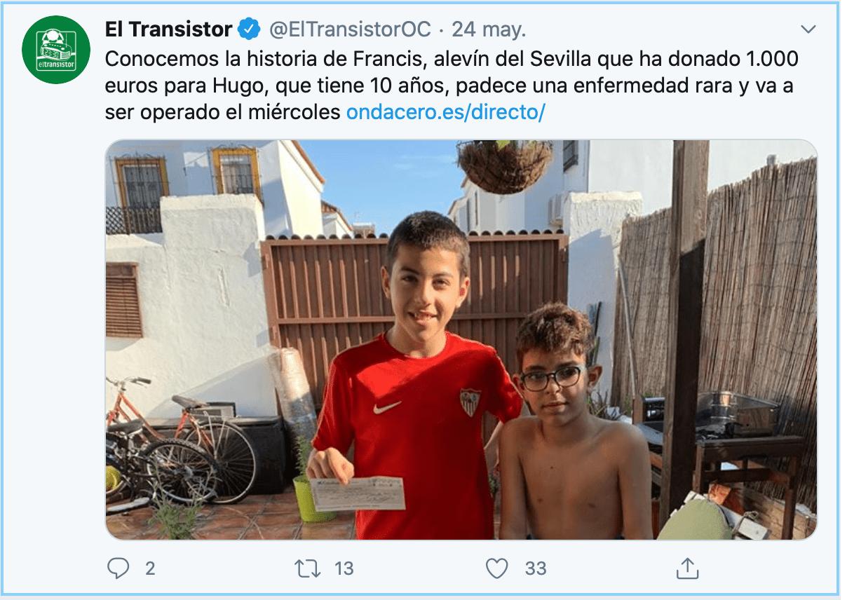Amistad nivel: Niño que juega en el Sevilla regaló su beca de mil euros para que su amigo sea operado