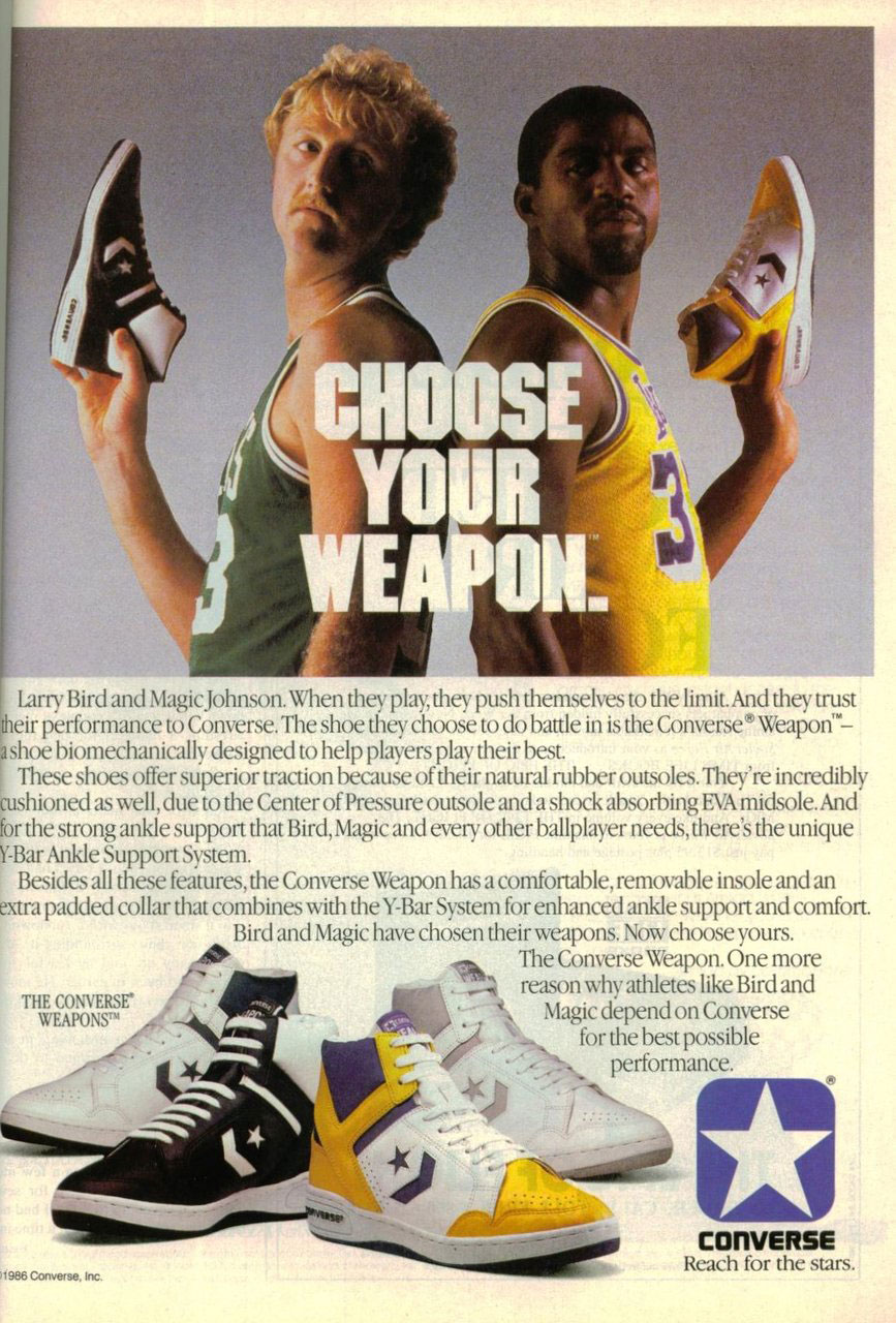 Larry Bird y Magic Johnson en un poster para CONVERSE