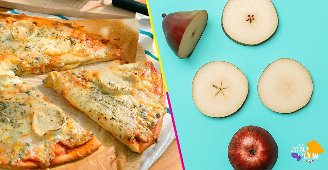 destacada entrale a la cocina pizza cuatro quesos con pera