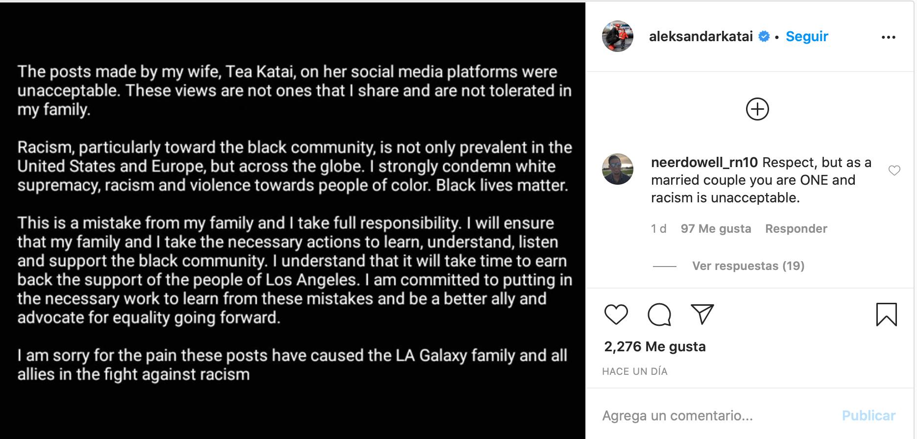 Galaxy despidió a Aleksandar Katai tras comentarios racistas de su esposa
