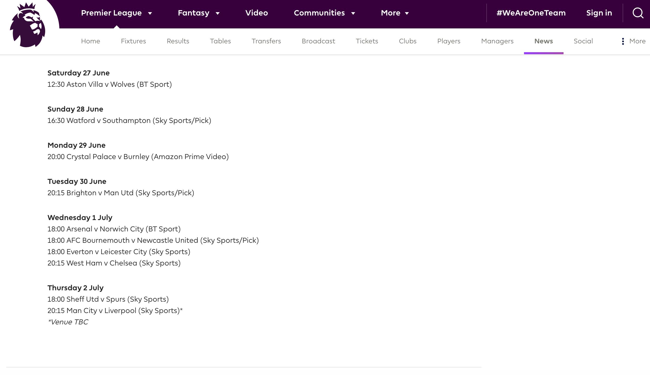 ¡Todo listo! Confirman fechas y horarios de las primeras tres jornadas del regreso de la Premier League