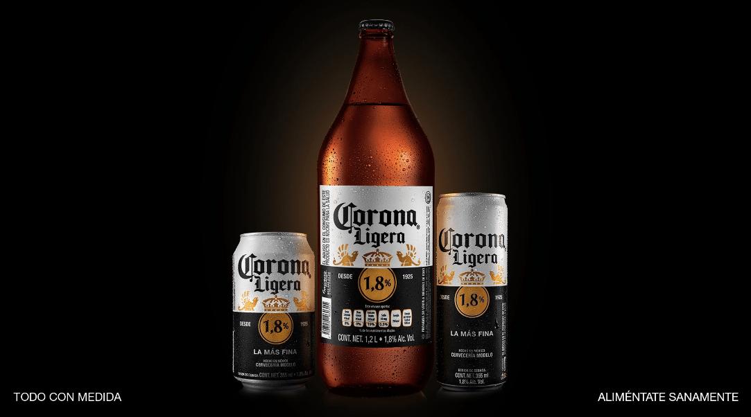 Nueva Cerveza Corona Ligera 1,8 grupo modelo cuarentena
