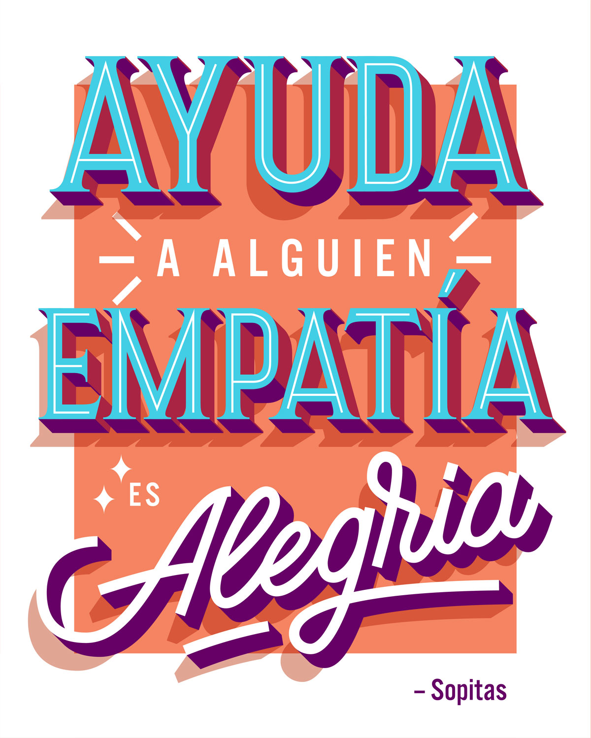 Ayuda a Alguien, empatía es Alegria de Sopitas ilustrado por Rebeca Anaya para Murales con Eco