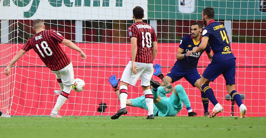 El atropellado gol de Rebic en el triunfo del Milán ante la Roma