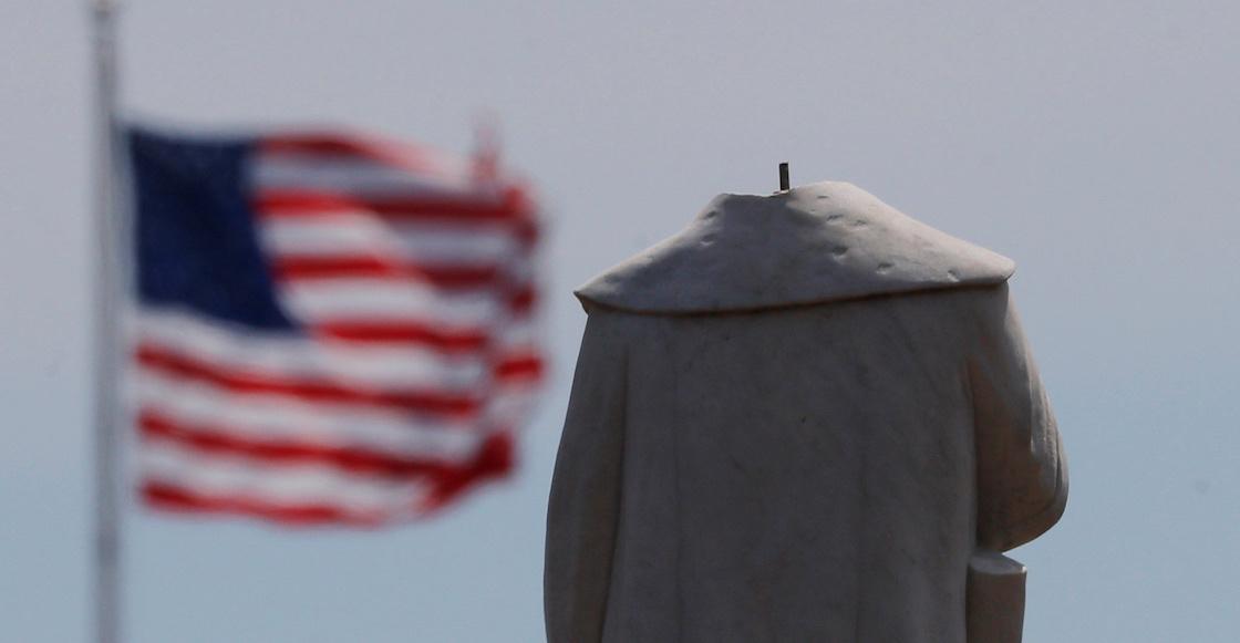 ¿Fuiste tú, Bart? Estatua de Cristóbal Colón aparece sin cabeza en Boston