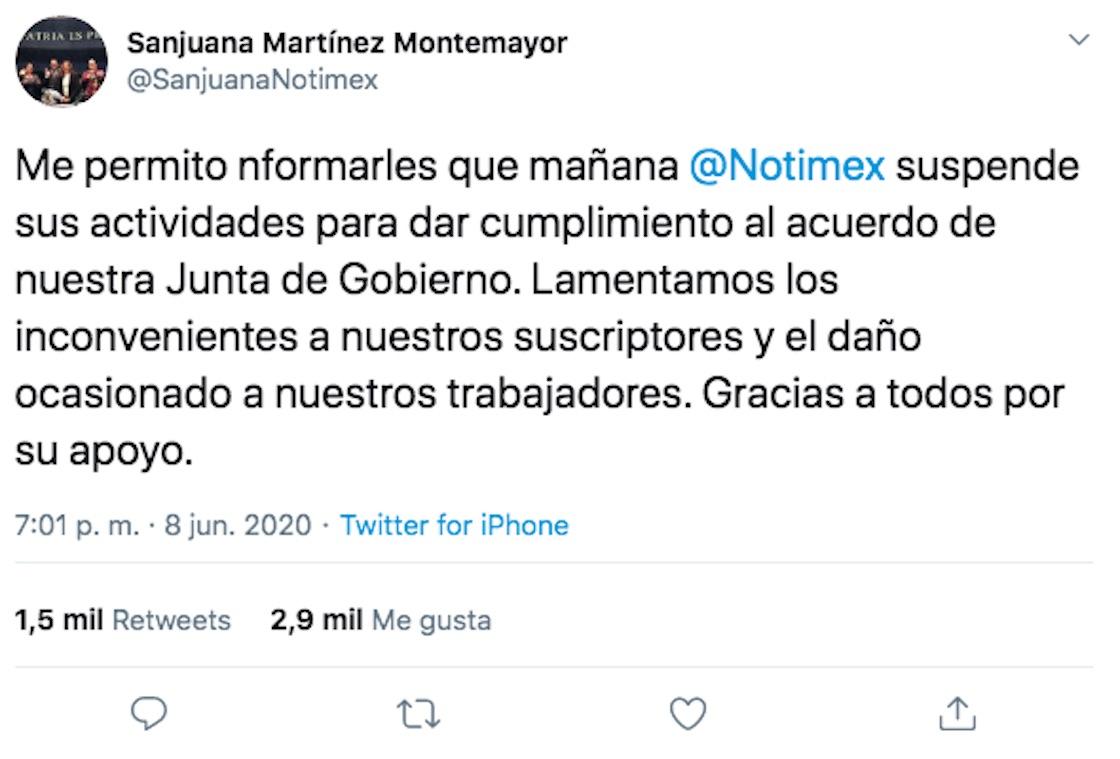 notimex-suspension-actividades-sanjuana-martinez