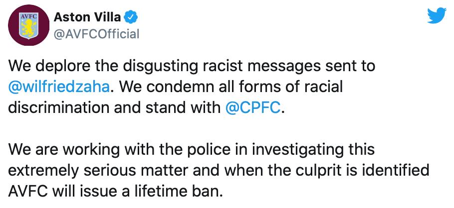 Wilfried Zaha denunció amenazas e insultos racistas de un fan del Aston Villa