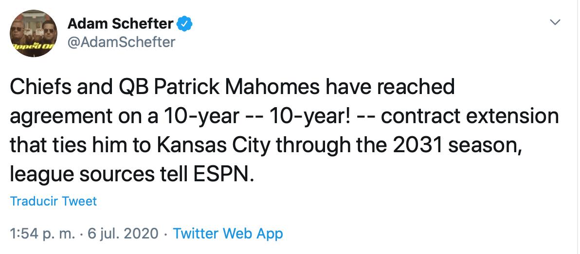 Al infinito y más allá: Este es el contrato histórico que tendría Patrick Mahomes con los Chiefs