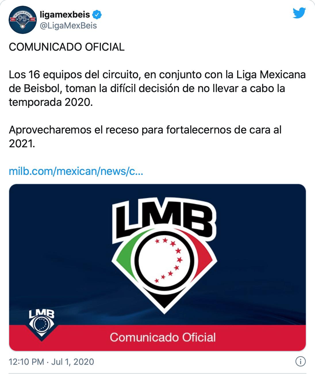 ¡Uno menos! Liga Mexicana de Béisbol canceló su temporada por coronavirus