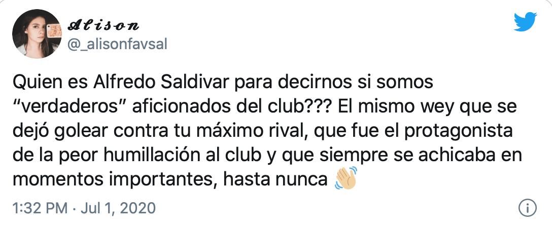 """""""Te vamos a extrañar"""": Así reaccionó la afición de Pumas y América a la salida de Alfredo Saldívar"""