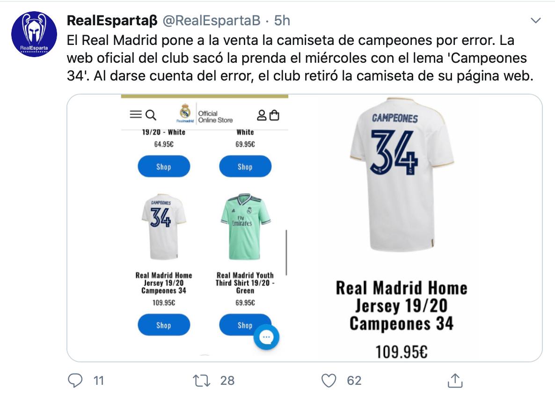 Ah caray: Real Madrid puso a la venta su playera de campeón... sin serlo aún