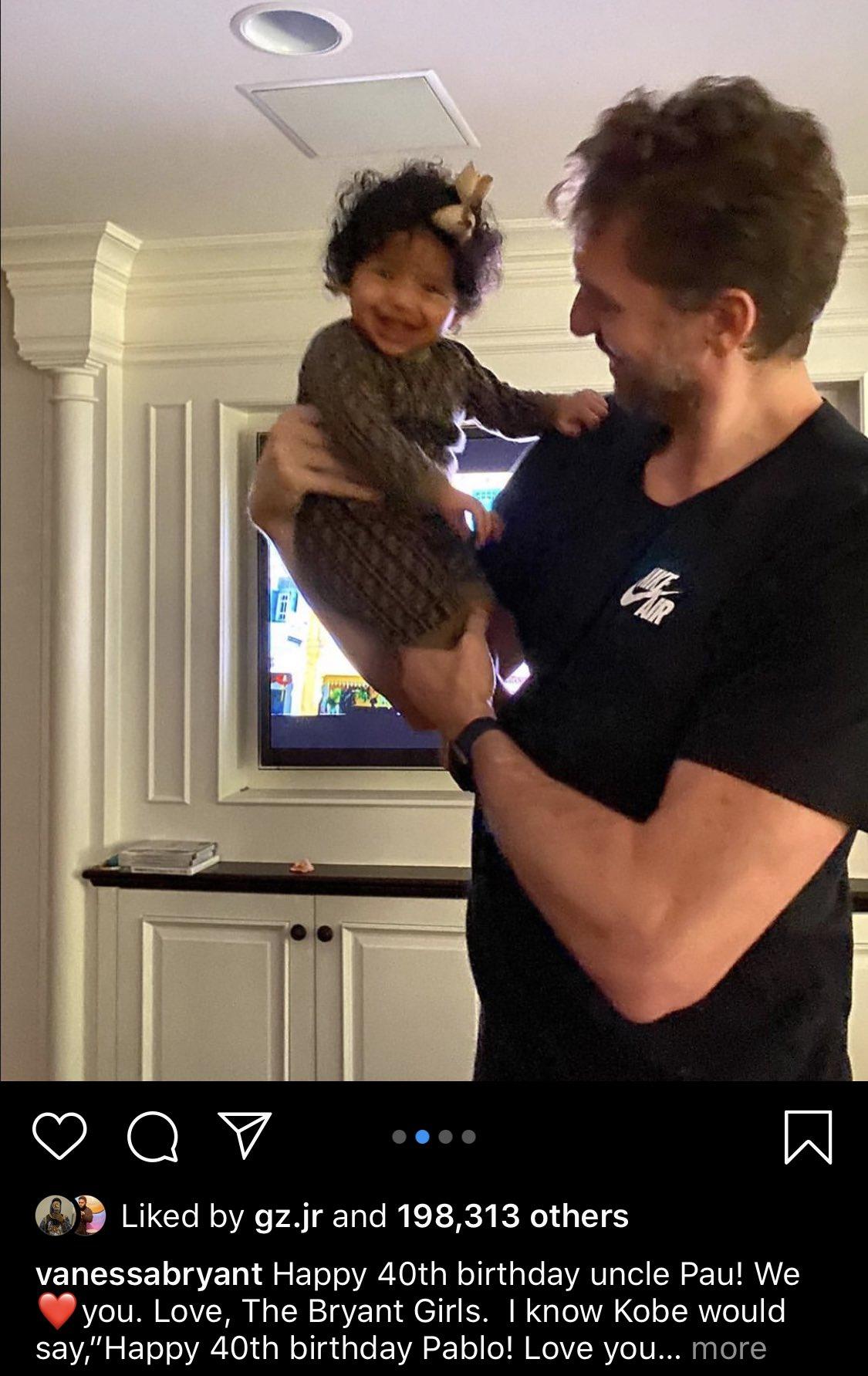 Amistad nivel: Pau Gasol pasó su cumpleaños con las hijas de Kobe Bryant