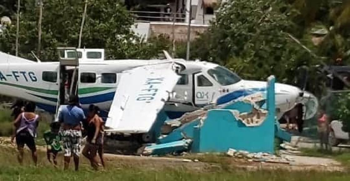 Avioneta se quedó sin frenos y sufrió accidente al aterrizar en Holbox con cinco turistas a bordo