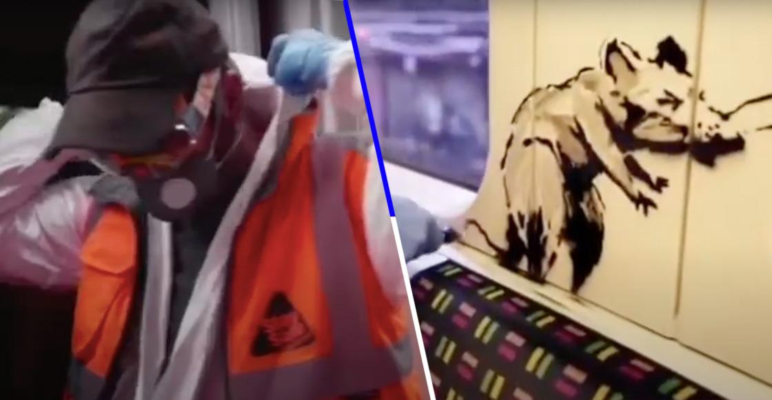 Banksy en acción: Video muestra a Banksy haciendo arte en el metro de Londres