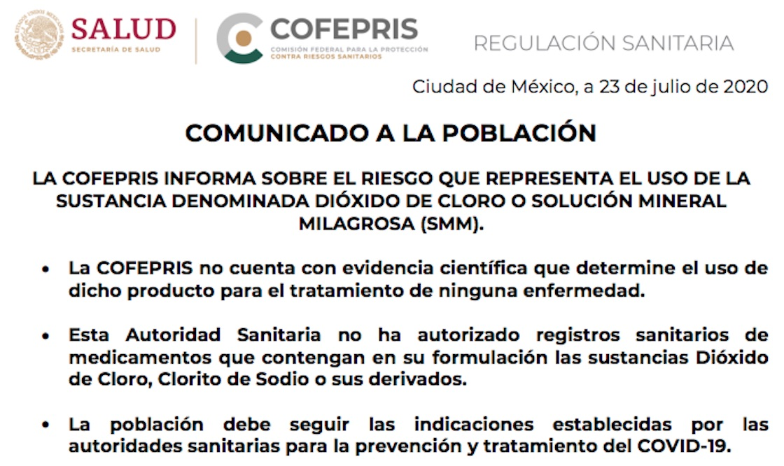 cofepris-dioxido-de-cloro-coronavirus-alerta