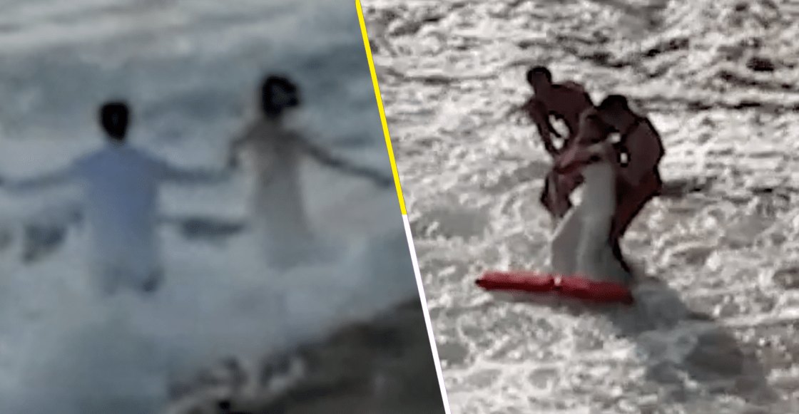 ¿Camarón que se duerme? Rescatan a pareja tras ser arrastrados por una ola en plena sesión de fotos