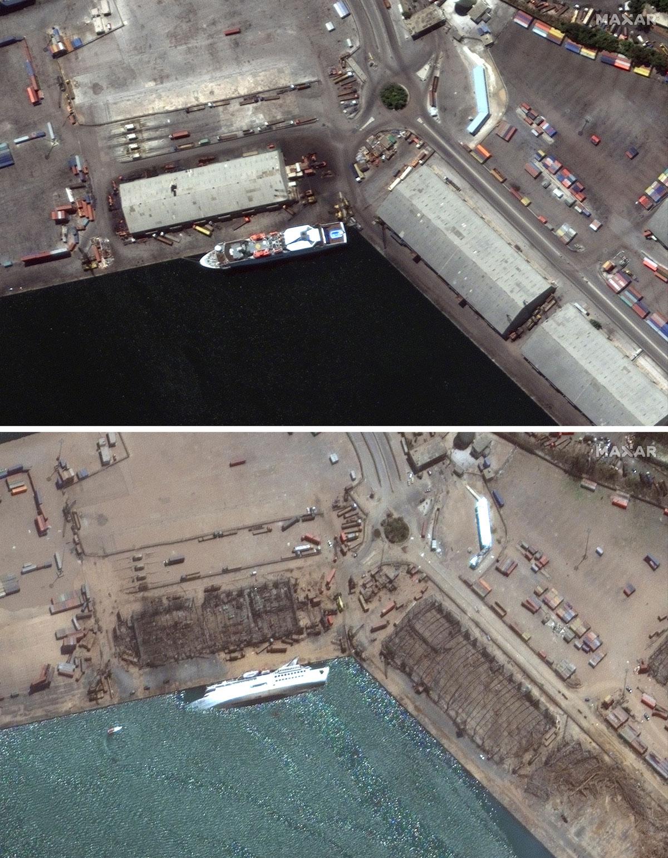 explosion Beirut antes y después