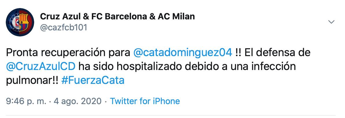 Afición de Cruz Azul manda apoyo a Julio César Domínguez