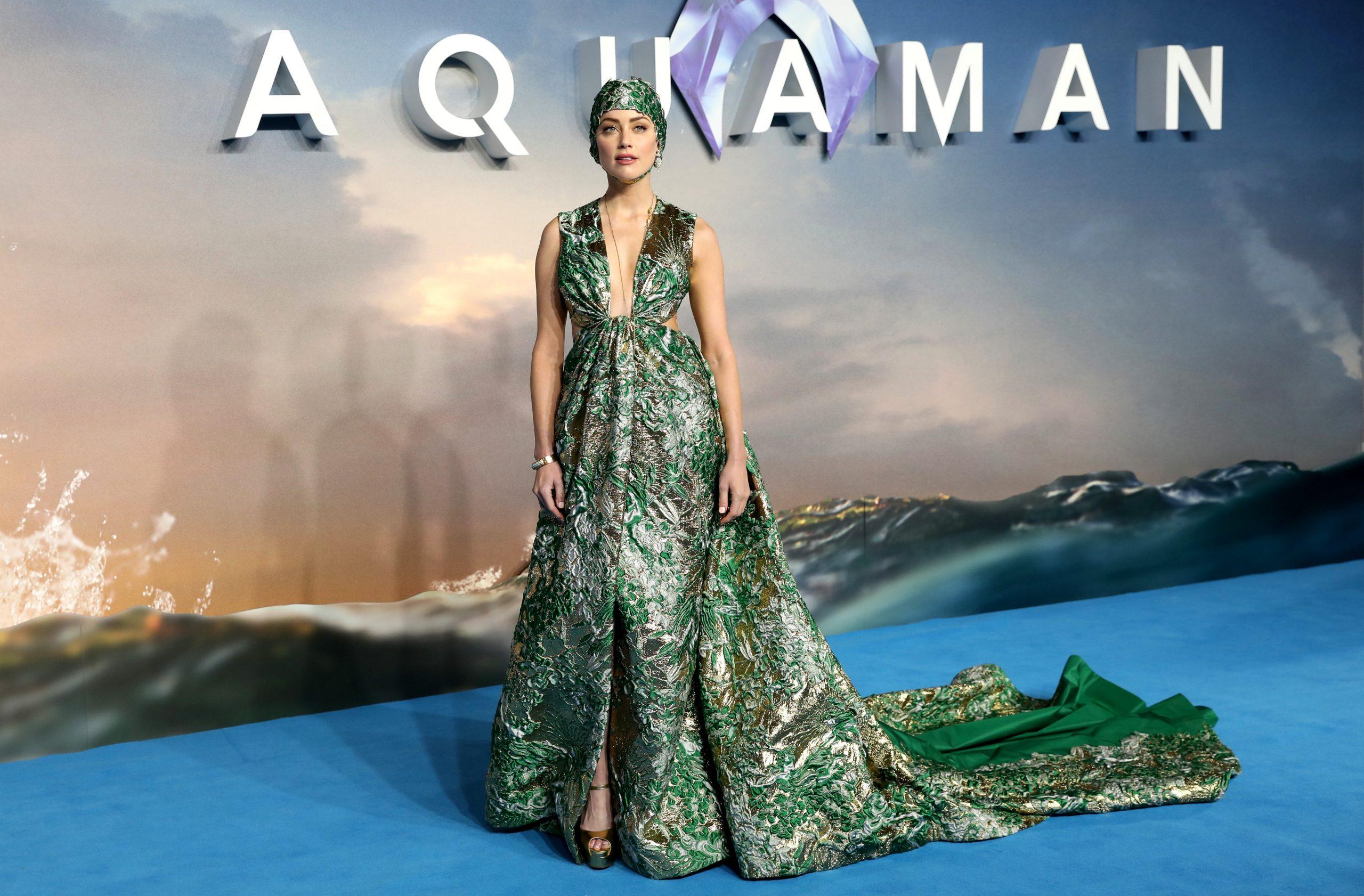 """Amber Heard promocionando """"Aquaman"""" en noviembre de 2018."""
