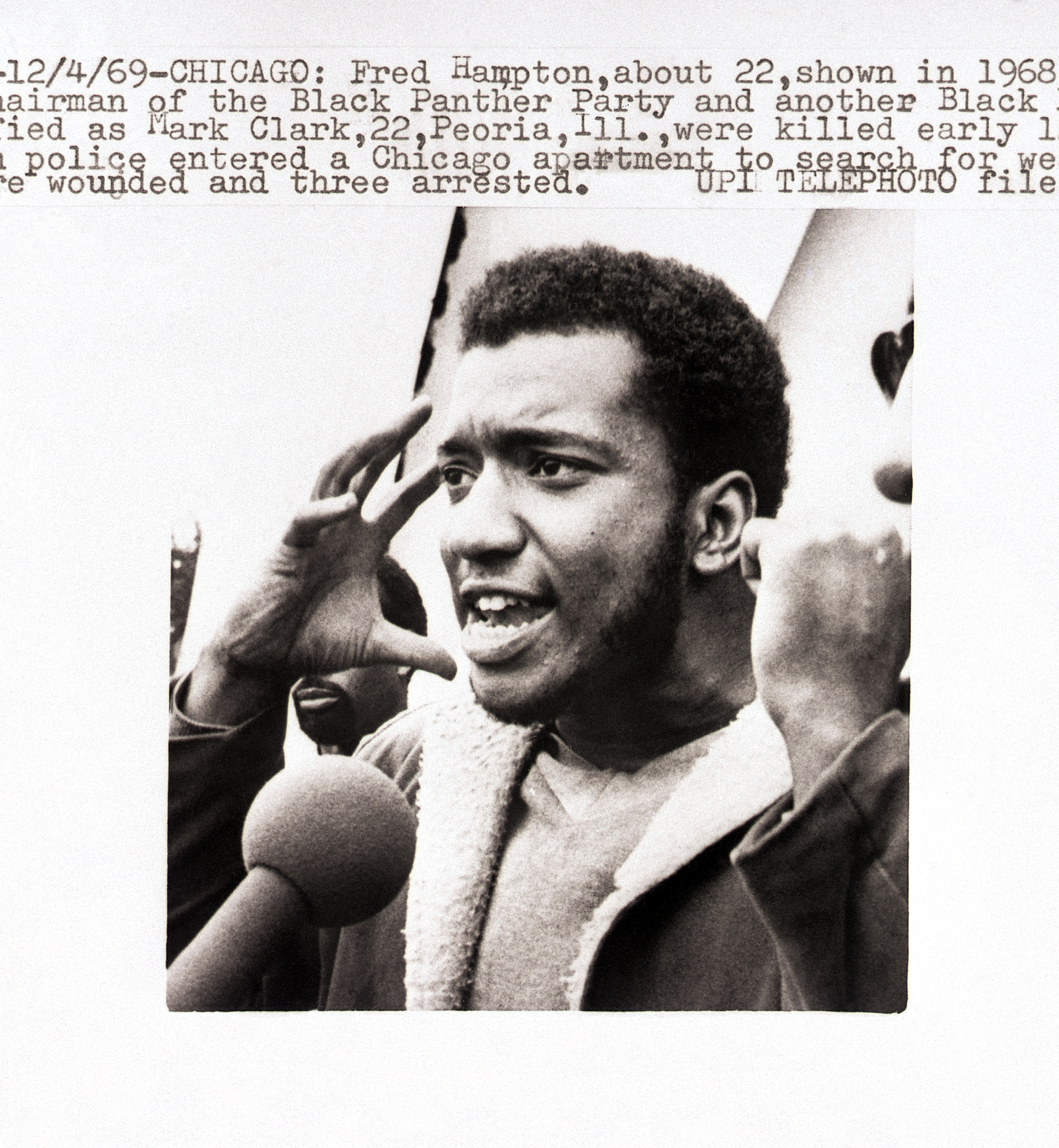 Fred Hampton en 1968 en el estado de Illinois ya como presidente de los Black Panther