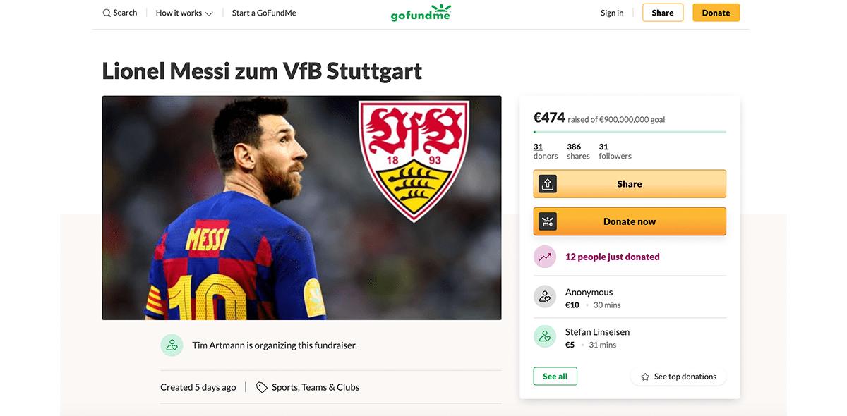 Se vale soñar: Fans del Stuttgart crean campaña para recaudar fondos y fichar a Messi