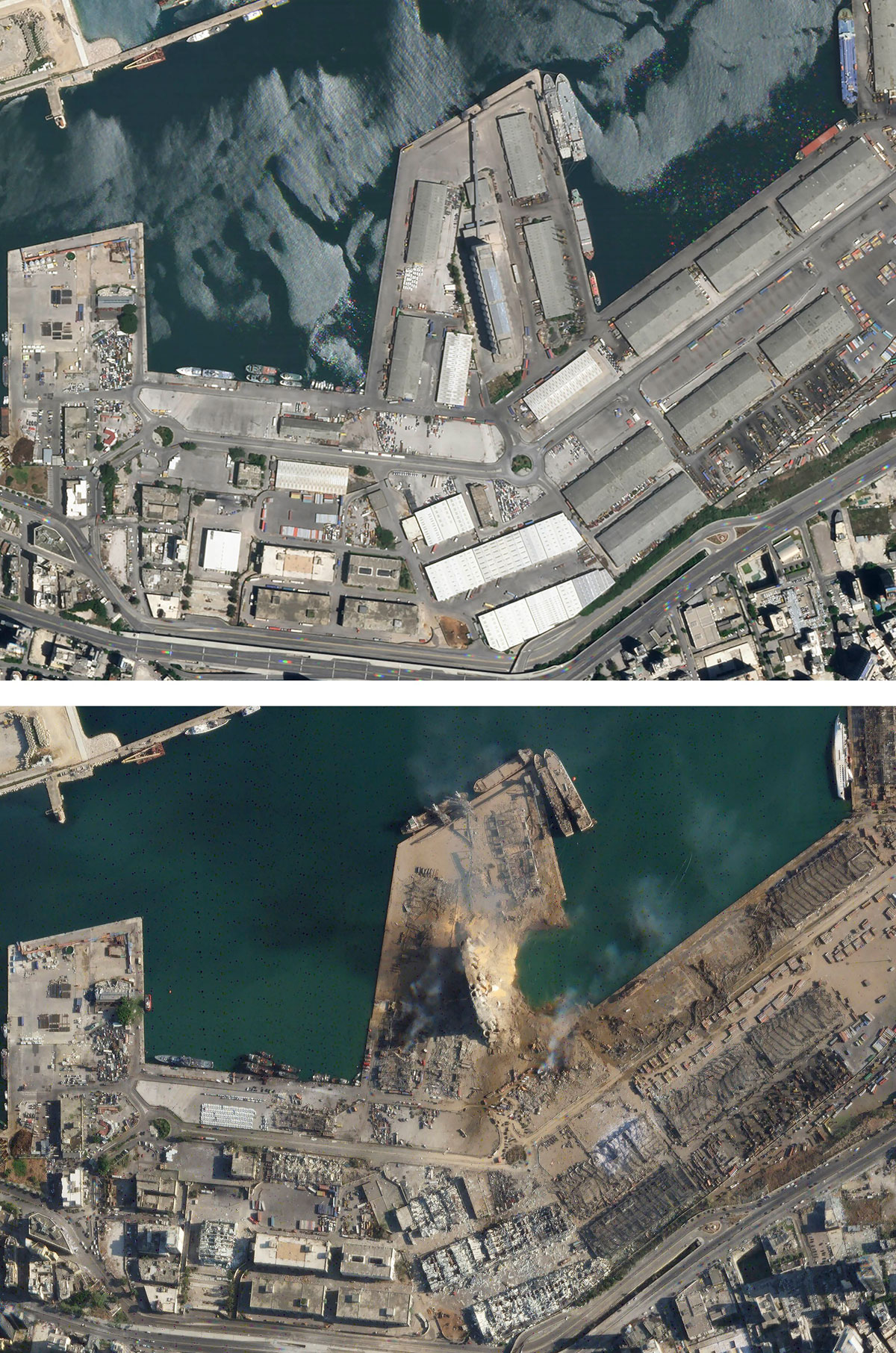 Imagen satelital de la explosión en Beirut