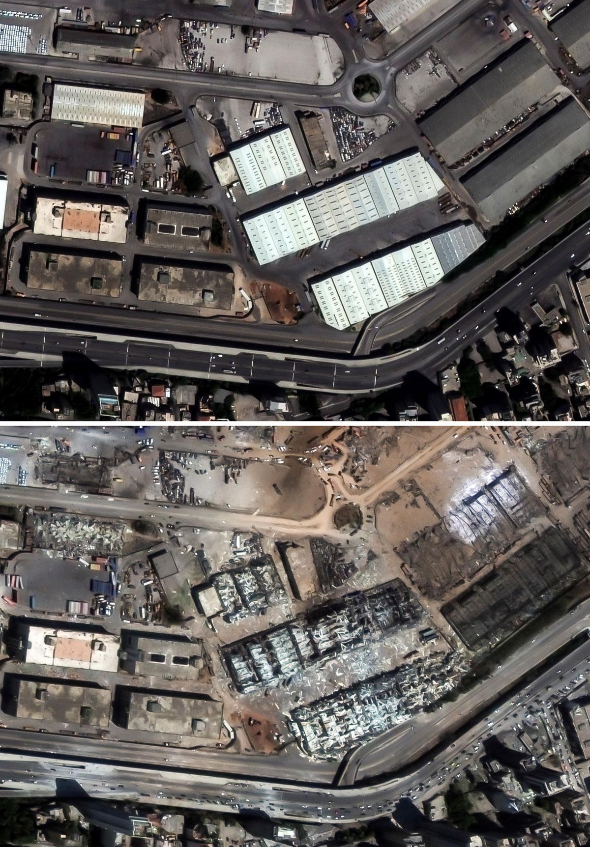 Antes y después de la explosión en el puerto de Beirut