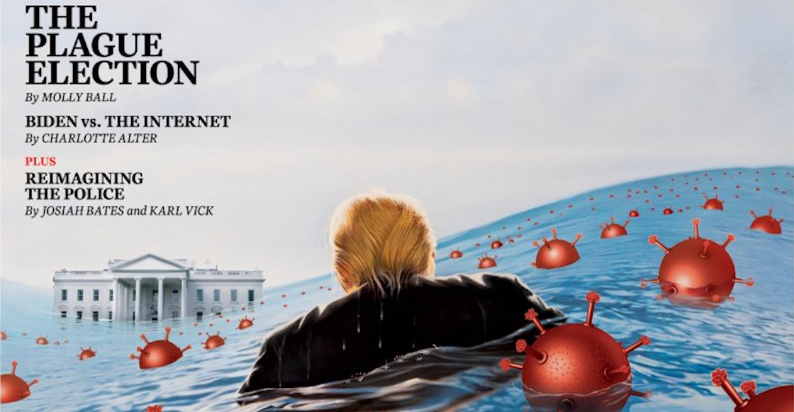 Trump-portada-time-destacada-agua-profunda-dibujo-revista-coronavirus-covid