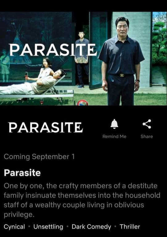 Parasite llega a Netflix
