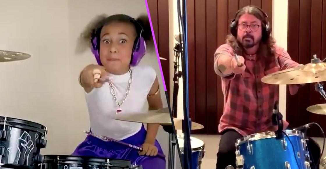 Le pegaron duro a la bataca: Niña de 10 años reta a Dave Grohl a una batalla de batería