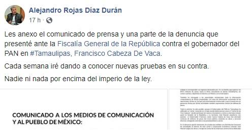 Denuncia contra gobernador de Tamaulipas