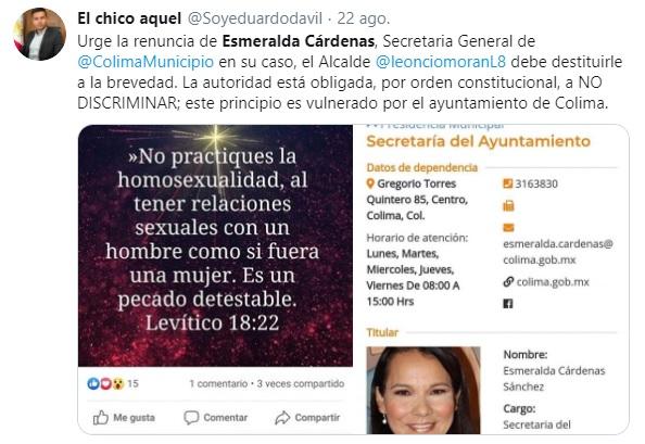 Tuit de funcionaria de Colima