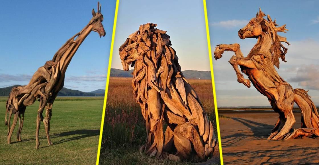 Jeffro Uitto: El artista que convierte trozos de madera en impresionantes esculturas