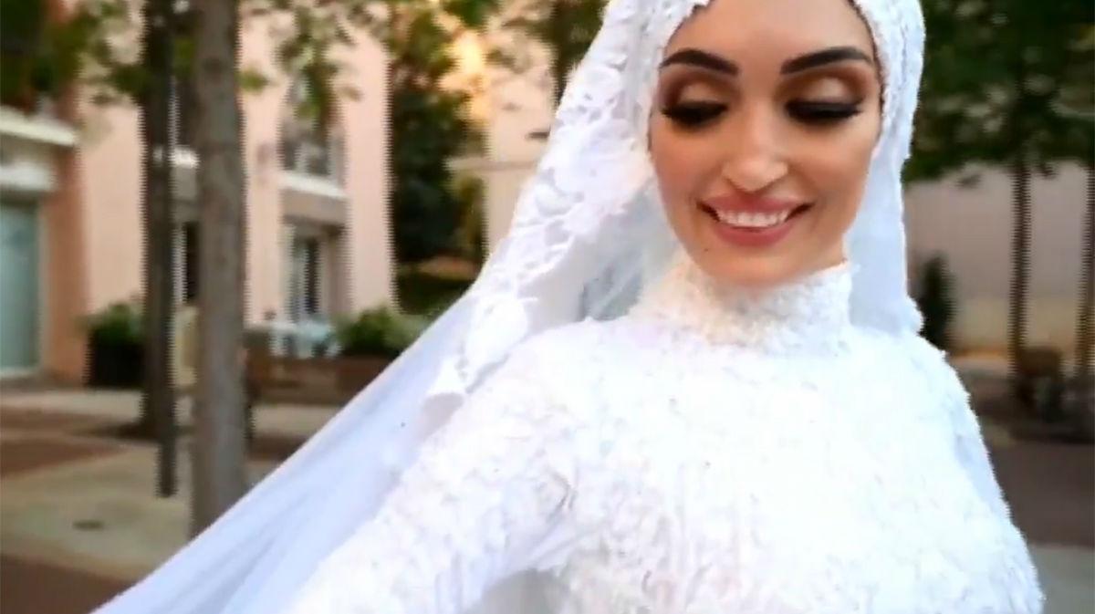 Novia en Beirut es sorprendida por la explosión mientras realiza su sesión fotográfica