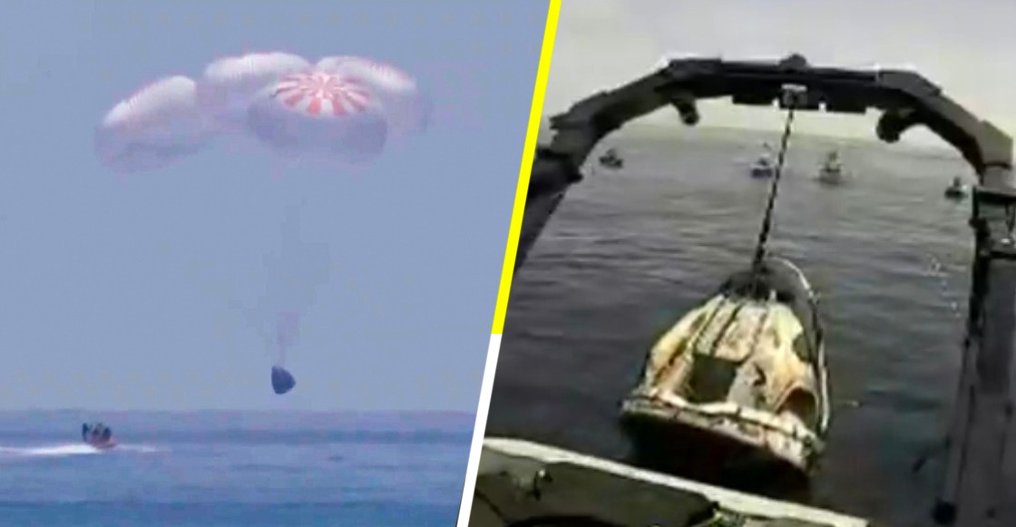Cápsula de SpaceX regresó con éxito a la Tierra en aguas del Golfo de México