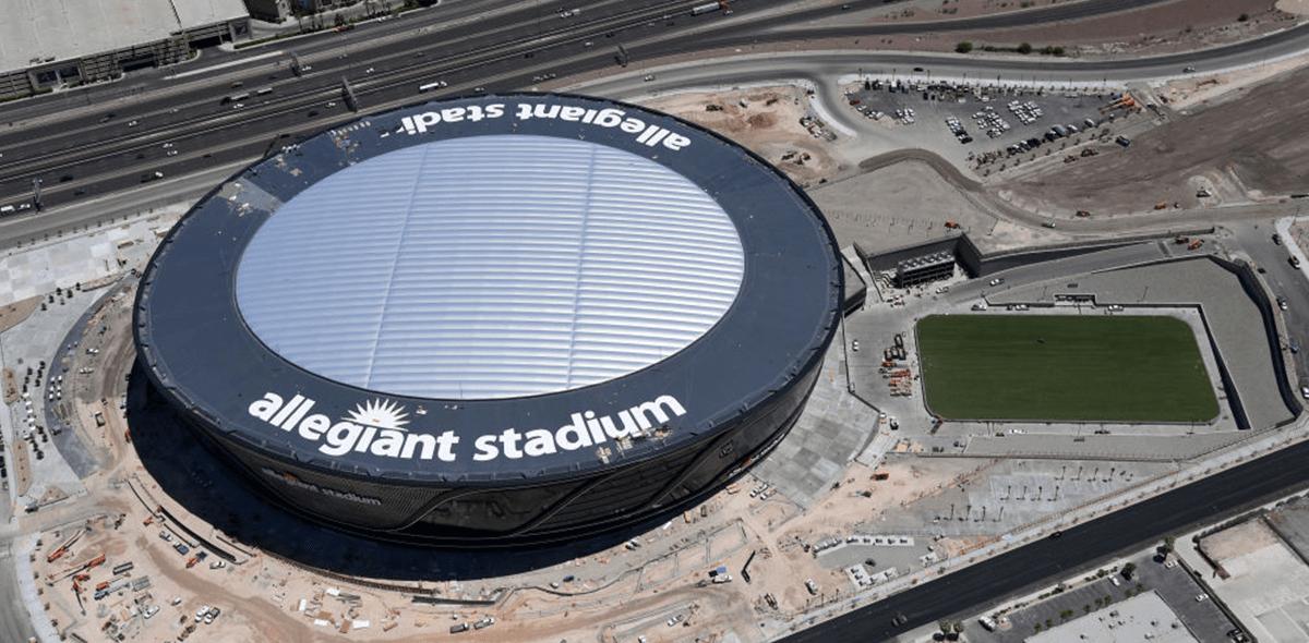 La construcción del Allegiant Stadium de los Raiders