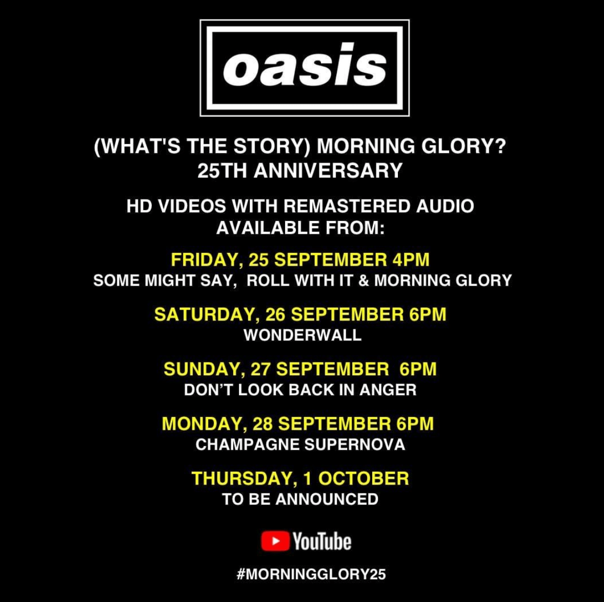 Aniversario de 'Whats the story (Morning glory)' de Oasis