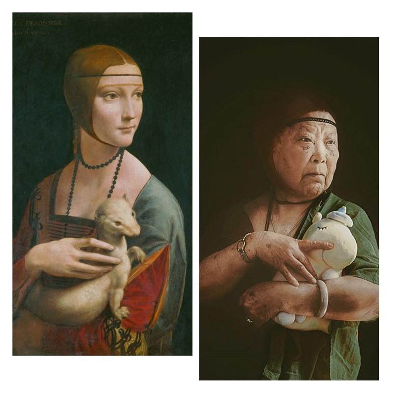 ¡Pura obra de arte! Abuelitos en China recrean en cuarentena un montón de pinturas famosas