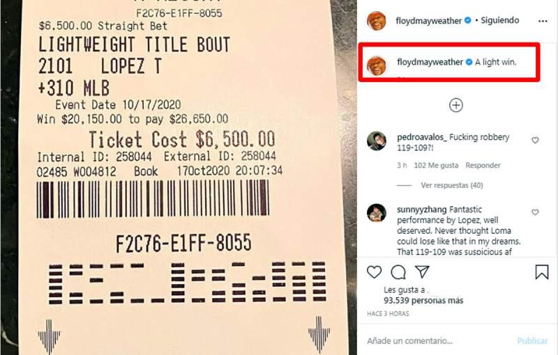 Mayweather ganó miles de dólares tras la victoria de Teófimo López ante Lomachenko